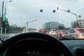 Driving in the rain traffic view view of a car driver Royalty Free Stock Photos