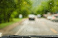Driving in the rain Royalty Free Stock Photo