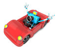 Driving a red Convertible car in sky blue camera Character. Crea Royalty Free Stock Photo