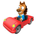 Driving a red sports car in d horse character d animal charac design series Stock Photography