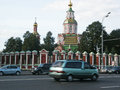 Driving on the road in moscow russia september two way traffic street background orthodox church Stock Photography