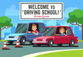 Driving school vector background with young happy driver in cars on road