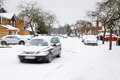 Driving in snow winter the uk Stock Image