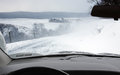Driving in a snowstorm on rural road pennsylvania usa Royalty Free Stock Photography