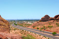 Driving to phoenix downtown az mcdowell road of papago park mountains arizona Royalty Free Stock Image