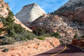 Driving through zion national park drive the sandstone patterns utah Stock Photos