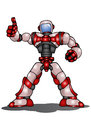 Droid robot thumb up on isolated white