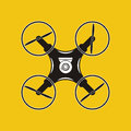 Drone with action camera icon. Aerial photography. Quadrocopter.