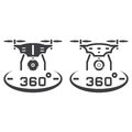 Drone with camera line icon, outline and solid vector sign, line