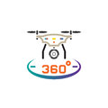 Drone with camera line icon, quadcopter outline vector logo illustration, linear pictogram isolated on white.