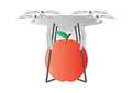 A Drone deliver red apple