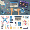 Drone delivery flat vector