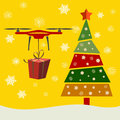 Drone Delivery Presents under christmas tree, New Year Christmas