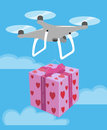 Drone delivery Valentine Day romantic gift box pink heart. Vector
