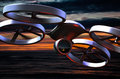 Drone dogfight unmanned aerial vehicle in flight Royalty Free Stock Photos