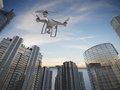 Drone flying for aerial photography or video shooting Royalty Free Stock Photos