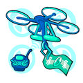 Drone Flying Air Quadrocopter Logo Icon Vector 3d isometric Illustration.
