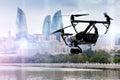 Drone flying over Baku city