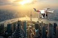 Drone with high resolution digital camera flying over Shanghai Royalty Free Stock Photo