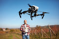 Drone hovering over vineyard Royalty Free Stock Photo