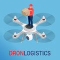 Drone logistics network Flat vector illustration Isometric Drone Fast Delivery of goods in the city. Technological