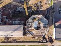 Drone photo of new office building under construction. aerial vi Royalty Free Stock Photo