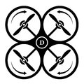 Drone quadcopter direction of rotation black symbol