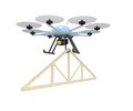 Drone roof truss construction concept with hanging under delivering to a top site Stock Photos