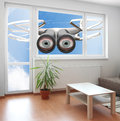 Drone spying through window your living room privacy policy concept Royalty Free Stock Photo