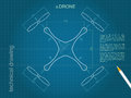 Drone technical design. Blueprint drawing top drone vector