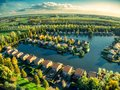 Drone top view of vinkeveen near Amsterdam during hot summer