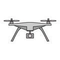 Drone vector icon on white background.