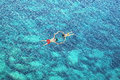 Drone view of couple snorkeling in blue sea water Royalty Free Stock Photo