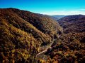 Drone view of stunning colorful autumn fall forest at sunset