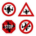 Drone warning sign vector set of different and forbidden signs with quadcopter Royalty Free Stock Image