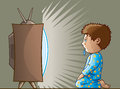 Drooling kid cartoon of a boy like a zombie by the tv Royalty Free Stock Images