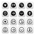 Drop down menu round buttons set vector computer or website settings icons isolated on white Stock Photo