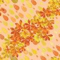 Drop watercolor autumn leaf seamless pattern
