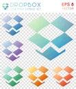 Dropbox geometric polygonal icons.