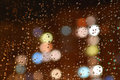 Droplets of night rain on window Royalty Free Stock Photography