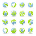 Drops and leaves. Vector logo template set. Royalty Free Stock Images