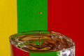 Drops lithuanias flag colors and waterdrops Stock Image