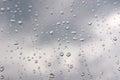 Drops of rain on the window glass shallow dof Royalty Free Stock Photo