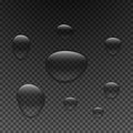 Drops of water of different sizes. Droplets of clear liquid on a dark transparent background.