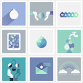 Drops of water set of design elements beautiful Stock Images