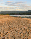 Drought land greenhouse effect and global warming of mekhong river during summer season thailand Stock Photography