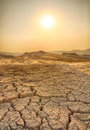 Drought land and hot weather with dry cracked ground Royalty Free Stock Photo