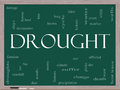 Drought Word Cloud Concept on a Blackboard Stock Image