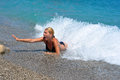 Drown young woman in the mediterranean sea blue water Royalty Free Stock Photos