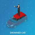 Drowned car. A car accident drowned. Flat 3d vector isometric illustration.